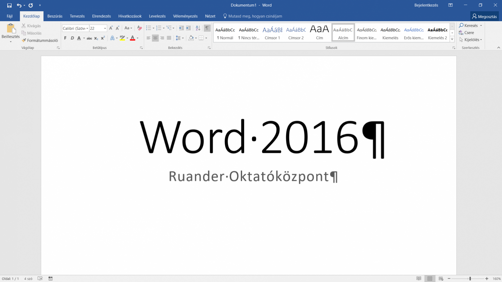 Word 2016 alapok